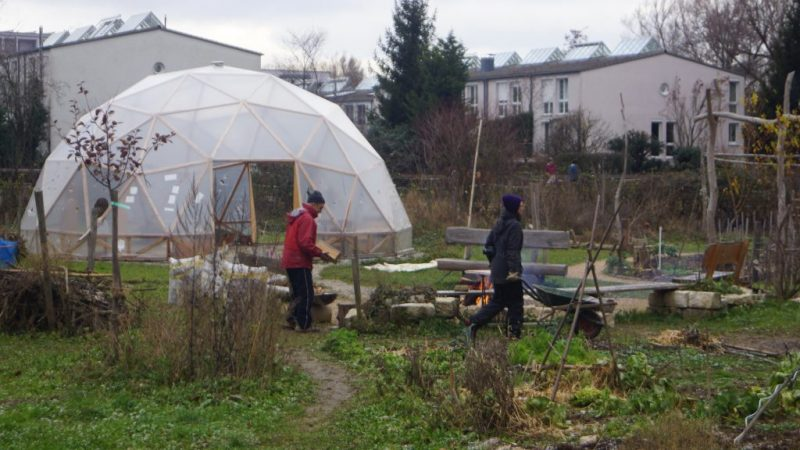 "Insights in the garden: Some common areas are displayed in the foreground, the ""Geodome"" can be seen in the background."