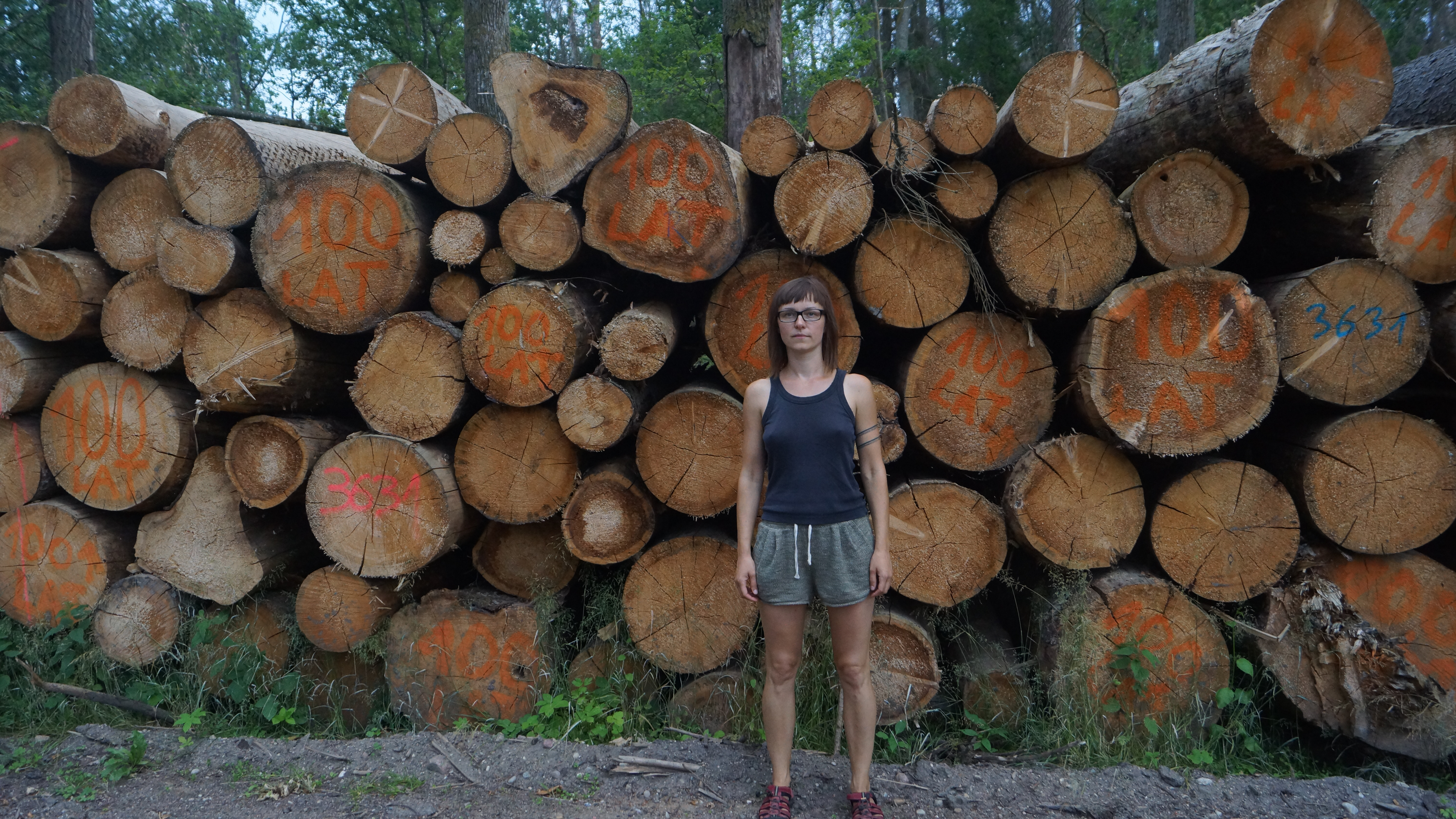 Kinga, stays infront of illegal logged oaks.